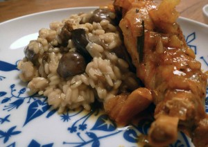 mushroom risotto with rabbit