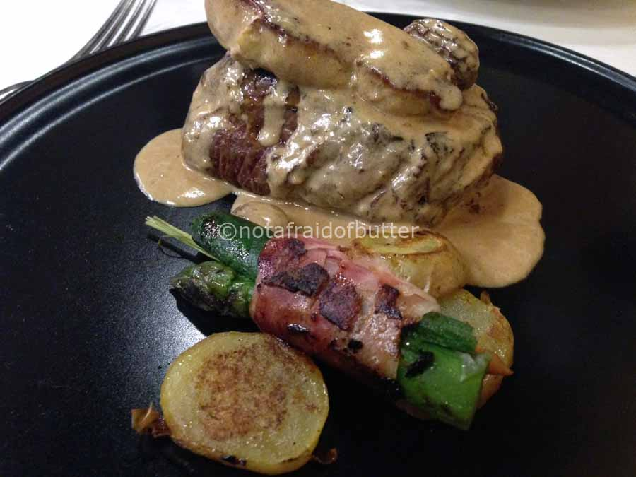 notafraidofbutter.nl | Barcelona -Sirloin steak with foie gras and licorice with ratatouille of morels mushrooms @4Gats