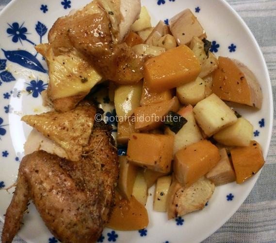 notafraidofbutter.nl | Applecider chicken with parsnip and butternut